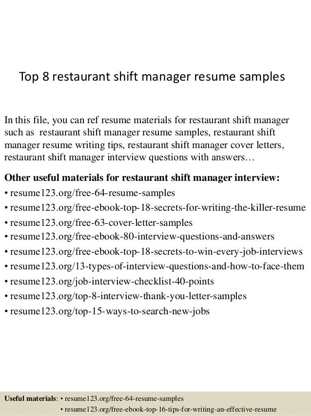 Elegant Top 8 Restaurant Shift Manager Resume Samples In This File, You Can Ref  Resume Materials ...  Shift Manager Resume