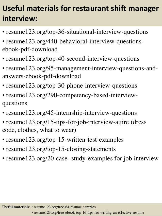 Top 8 restaurant shift manager resume samples