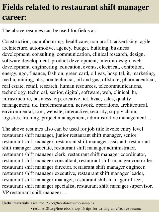 Top 8 restaurant shift manager resume samples