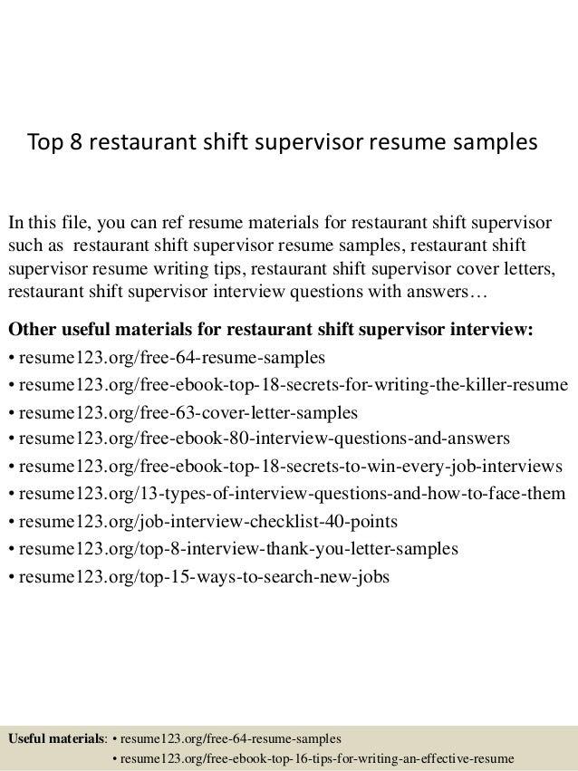 top 8 restaurant shift supervisor resume samples 1 638 jpg cb 1431789890