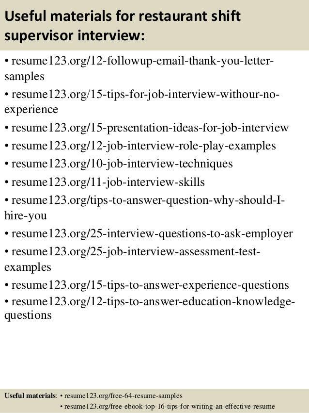 ... 14. Useful Materials For Restaurant Shift Supervisor ...  Shift Supervisor Resume
