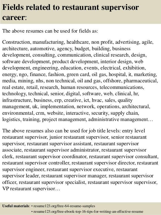 Restaurant Supervisor Resume Sample