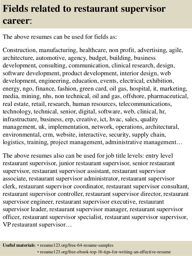 Top  Restaurant Supervisor Resume Samples