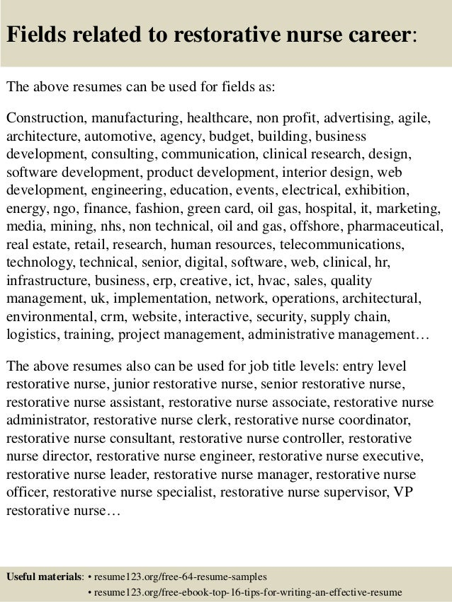 Top 8 restorative nurse resume samples
