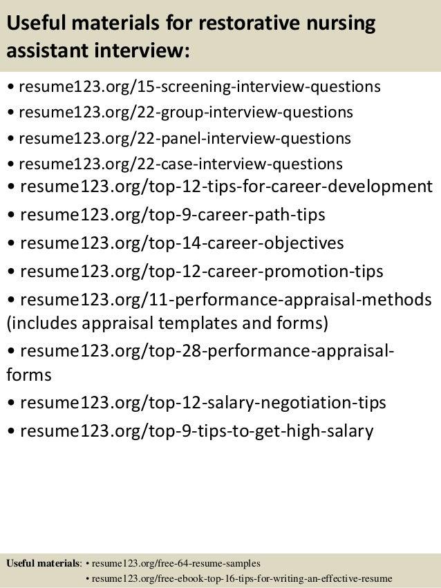 Top 8 restorative nursing assistant resume samples