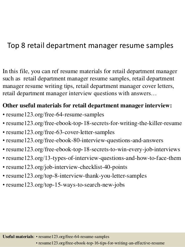 Top 8 Retail Department Manager Resume Samples In This File You Can Ref Materials