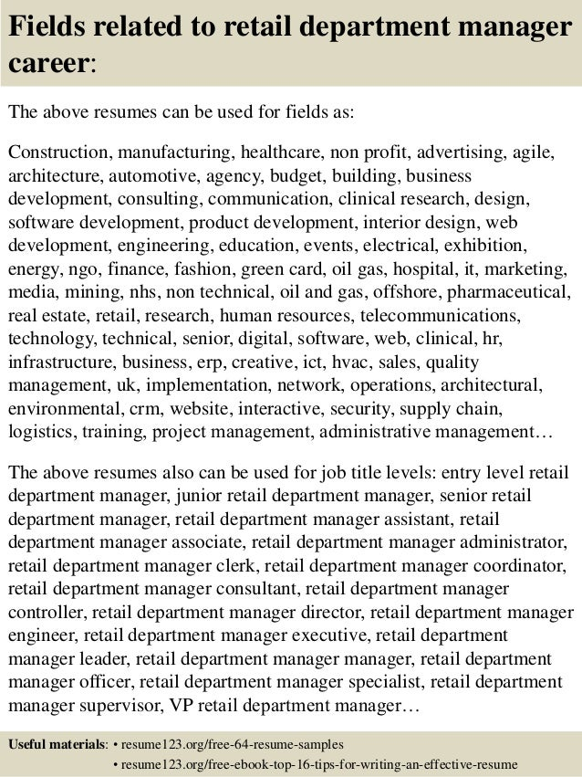 Resume Resume Sample Department Manager top 8 retail department manager resume samples 16 fields related to manager