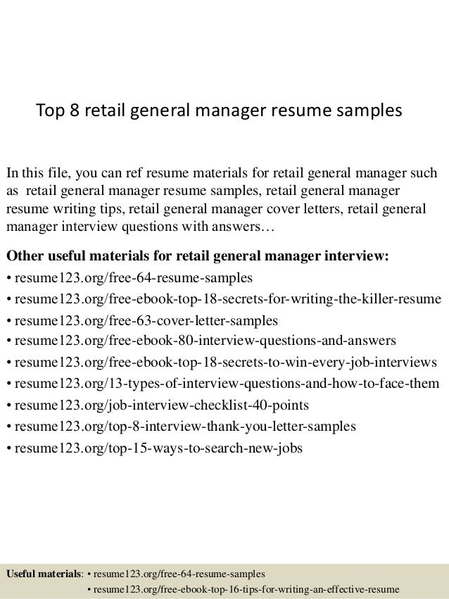 top 8 retail general manager resume sles