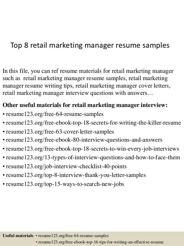 resume sample for marketing executive