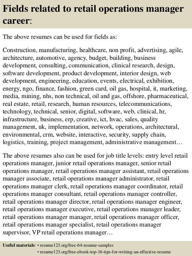 Top 8 retail operations manager resume samples