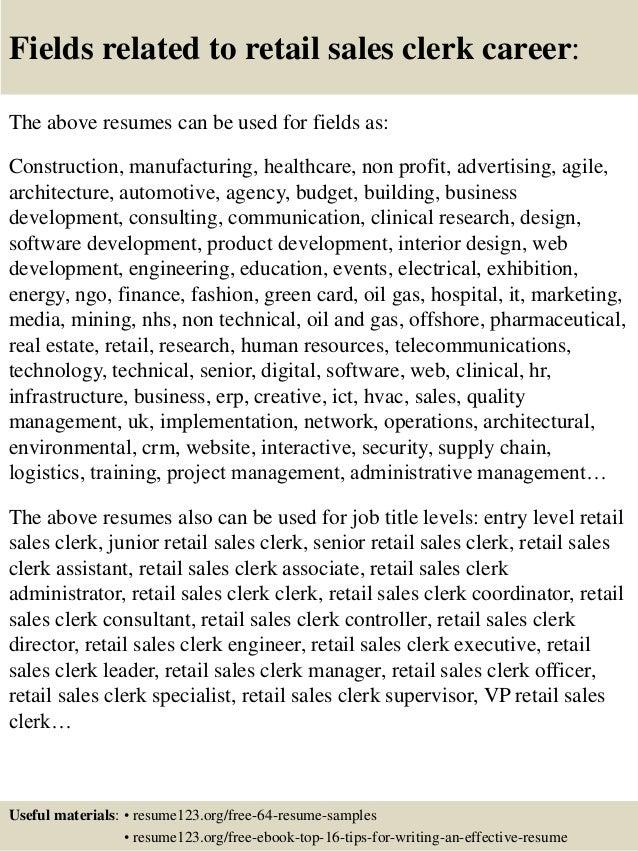 Top 8 retail sales clerk resume samples – Retail Clerk Resume