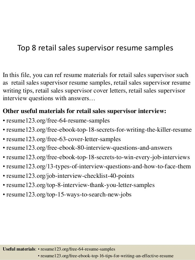 Retail Supervisor Resume Sle Top 8 Sales