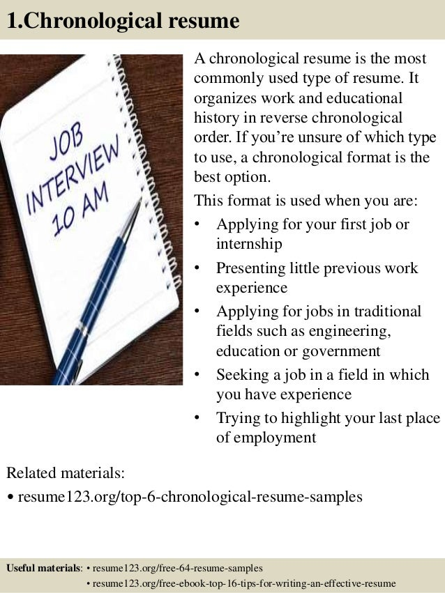 1.Chronological resume A chronological resume is the most commonly used type of resume. It organizes work and educational ...