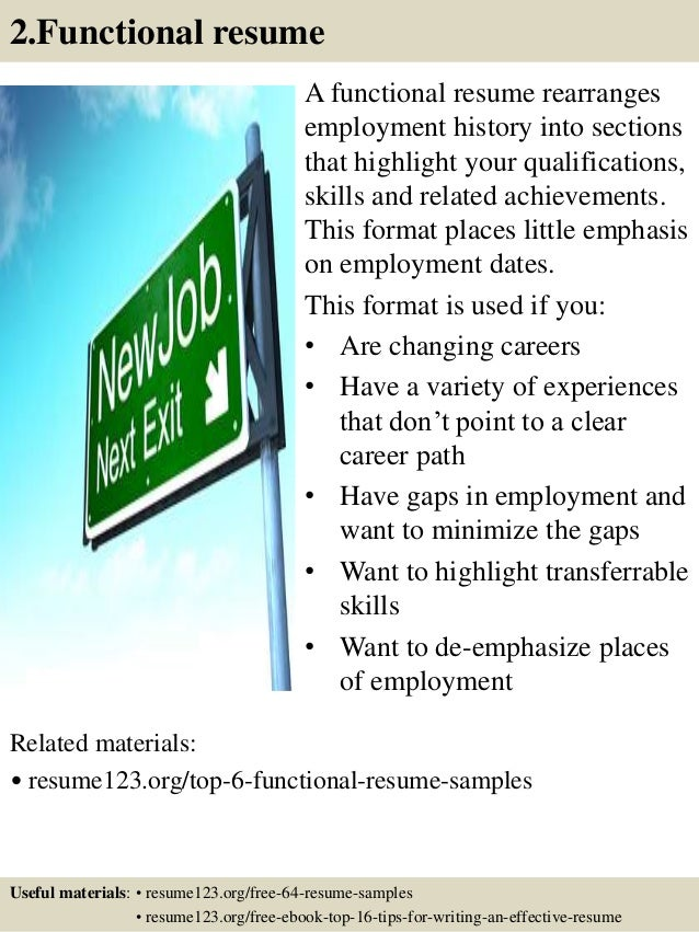 2.Functional resume A functional resume rearranges employment history into sections that highlight your qualifications, sk...