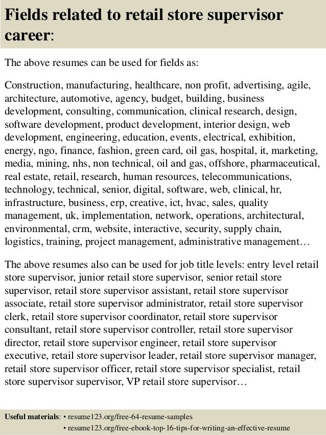 top 8 retail store supervisor resume samples