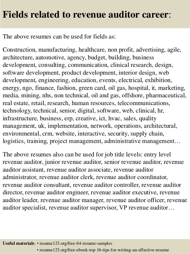 top 8 revenue auditor resume samples