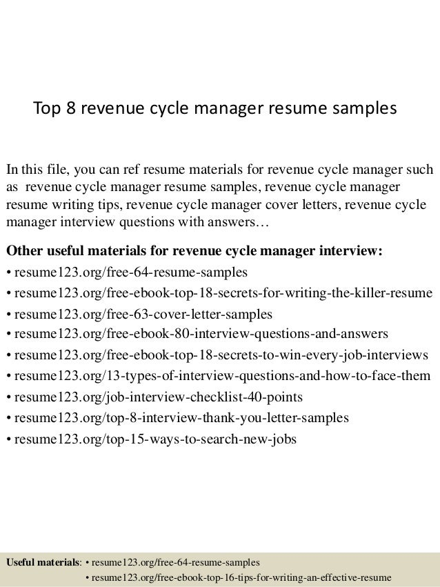 top 8 revenue cycle manager resume sles