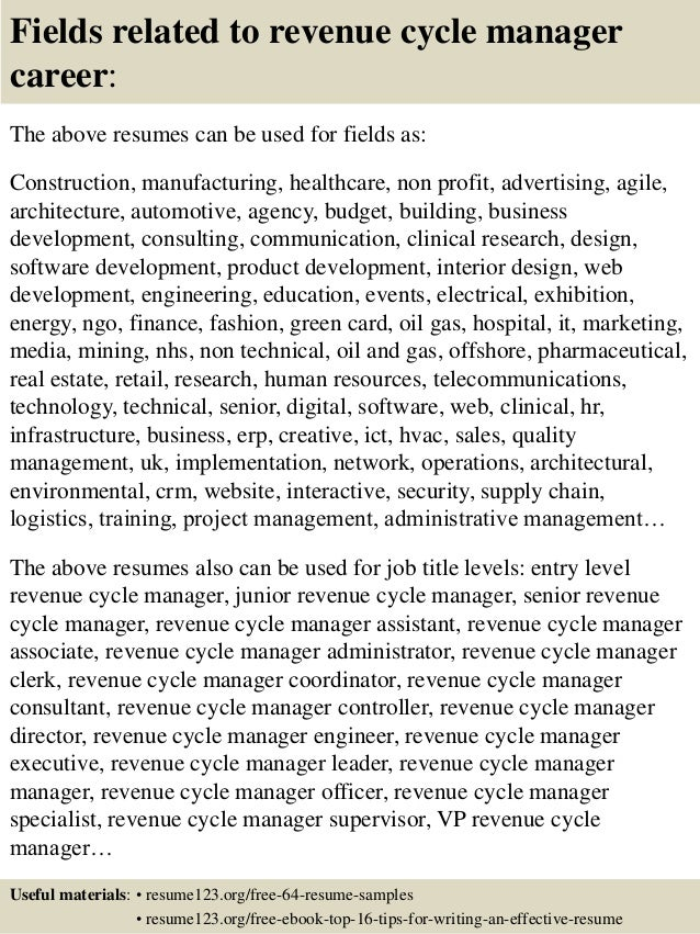 Top 8 Revenue Cycle Manager Resume Samples