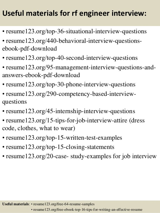 12 useful materials for rf engineer - Rf Drive Test Engineer Sample Resume