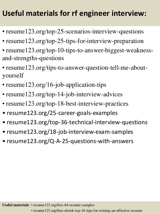 13 useful materials for rf engineer - Rf Design Engineer Sample Resume