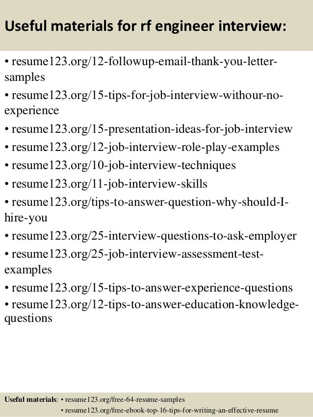 14 useful materials for rf engineer - Rf Design Engineer Sample Resume
