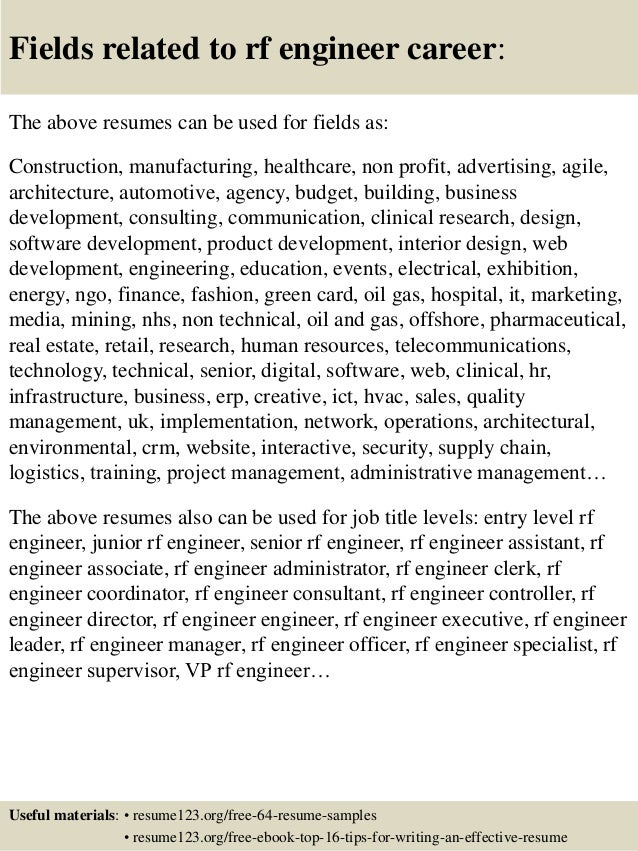 16 fields related to rf engineer - Rf Design Engineer Sample Resume