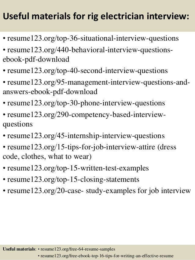 Top  Rig Electrician Resume Samples