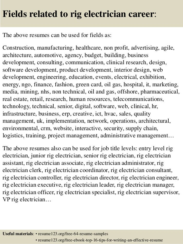 Top 8 rig electrician resume samples