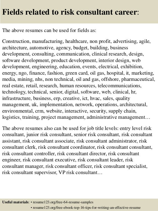 top 8 risk consultant resume samples