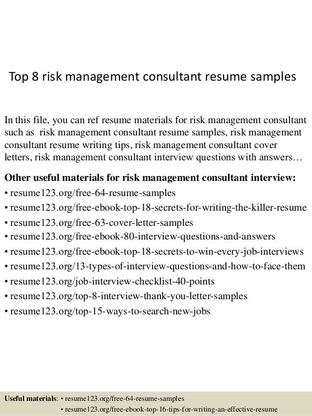Top 8 Risk Management Consultant Resume Samples