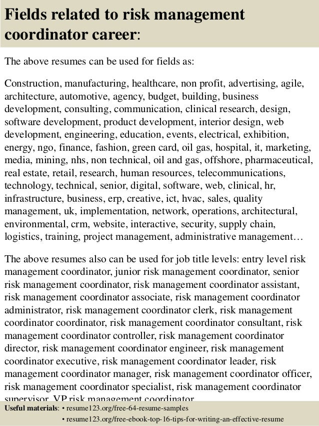 Top 8 risk management coordinator resume samples
