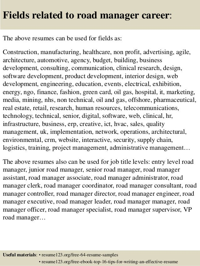 Top 8 road manager resume samples
