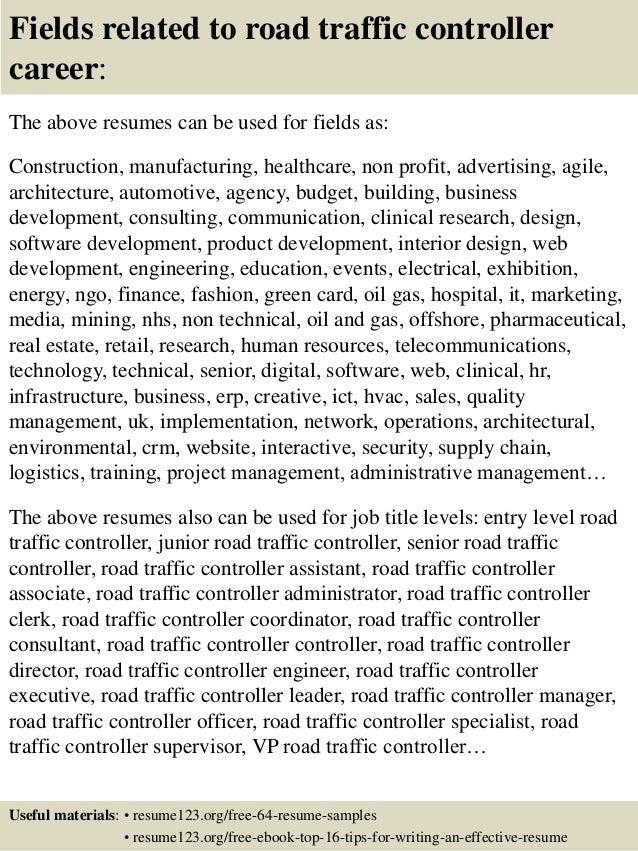 Top 8 road traffic controller resume samples
