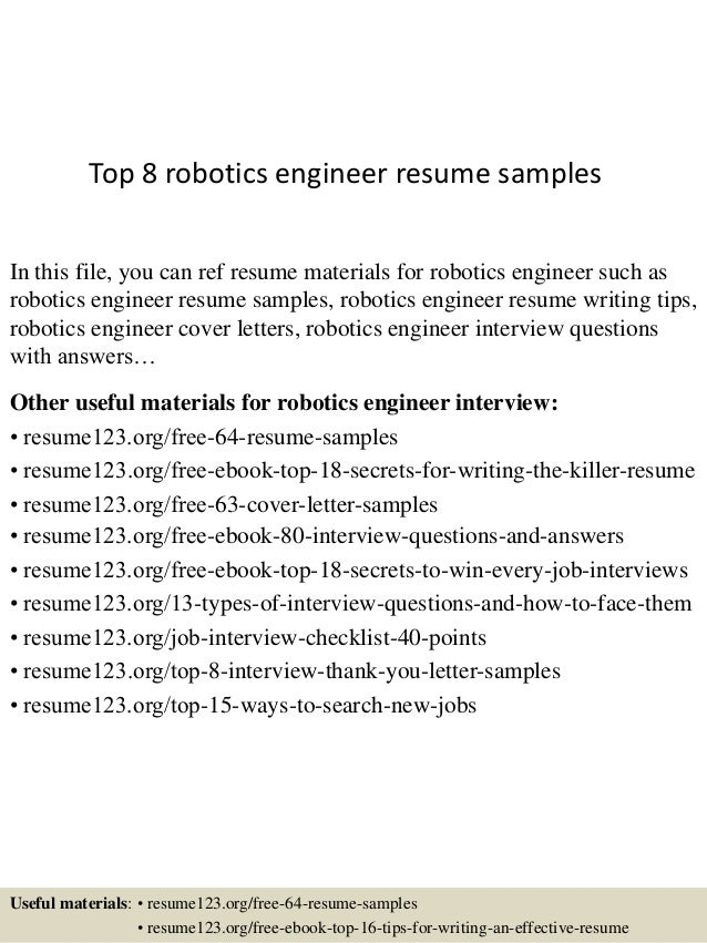 Top 8 robotics engineer resume samples