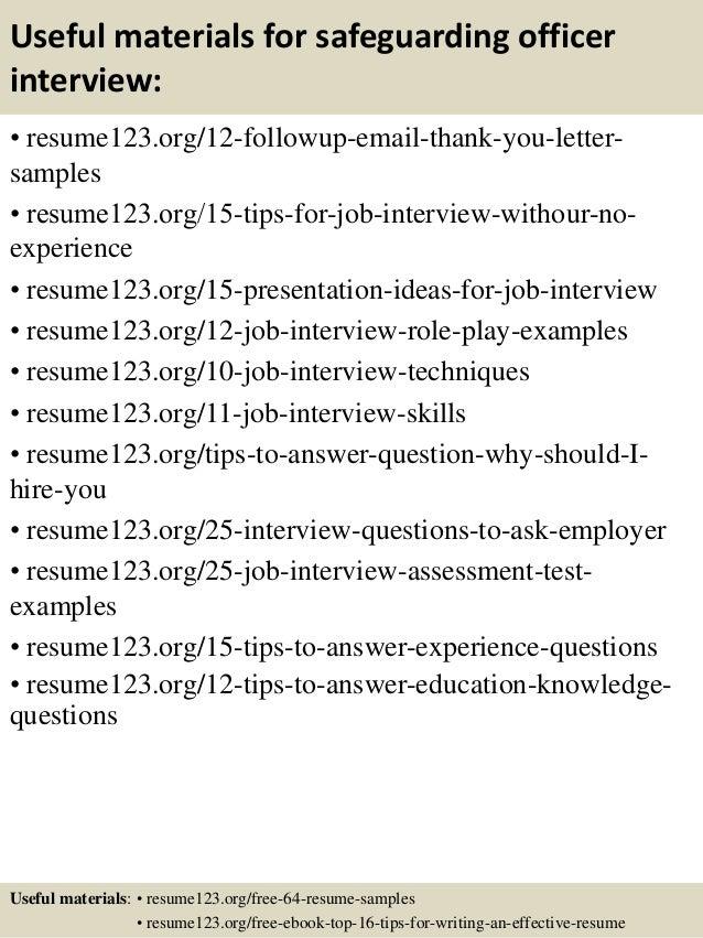 top 8 safeguarding officer resume samples