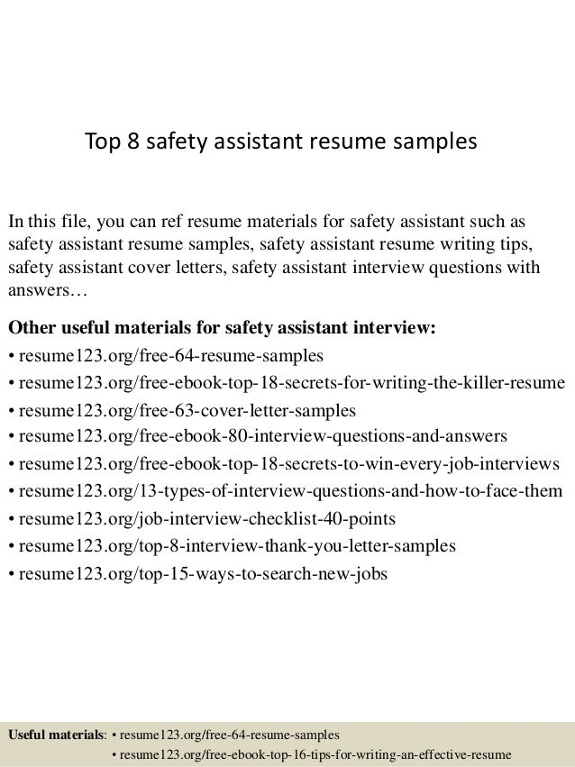 Top 8 safety assistant resume samples