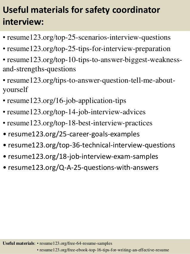 ... 13. Useful Materials For Safety Coordinator ...  Safety Coordinator Resume
