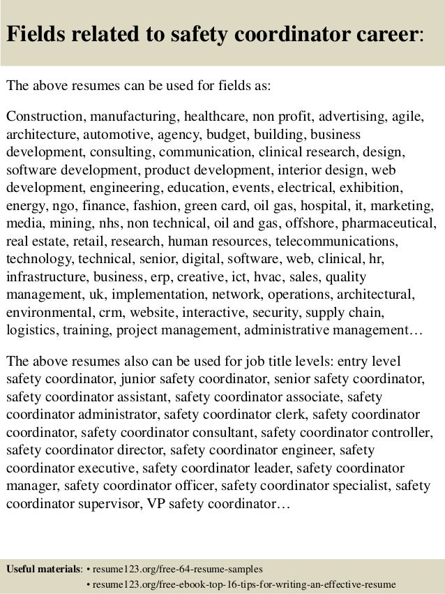 ... 16. Fields Related To Safety Coordinator ...  Safety Coordinator Resume