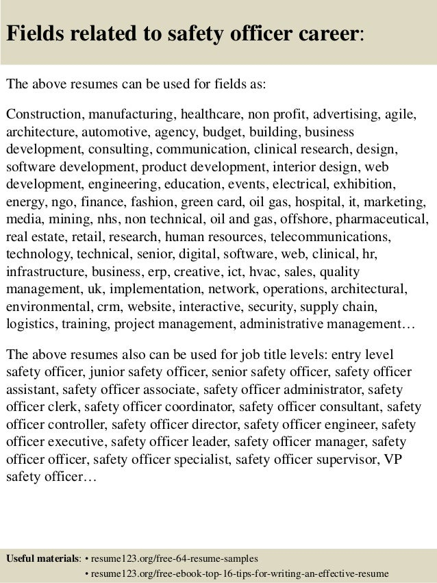 16 fields related to safety officer safety manager resume