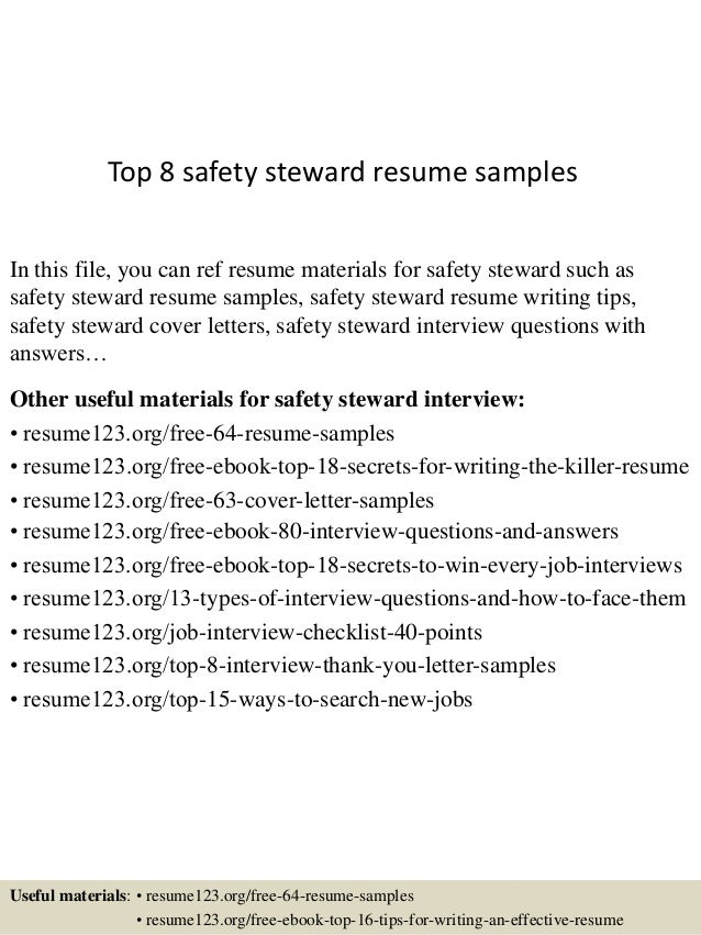 Top 8 safety steward resume samples