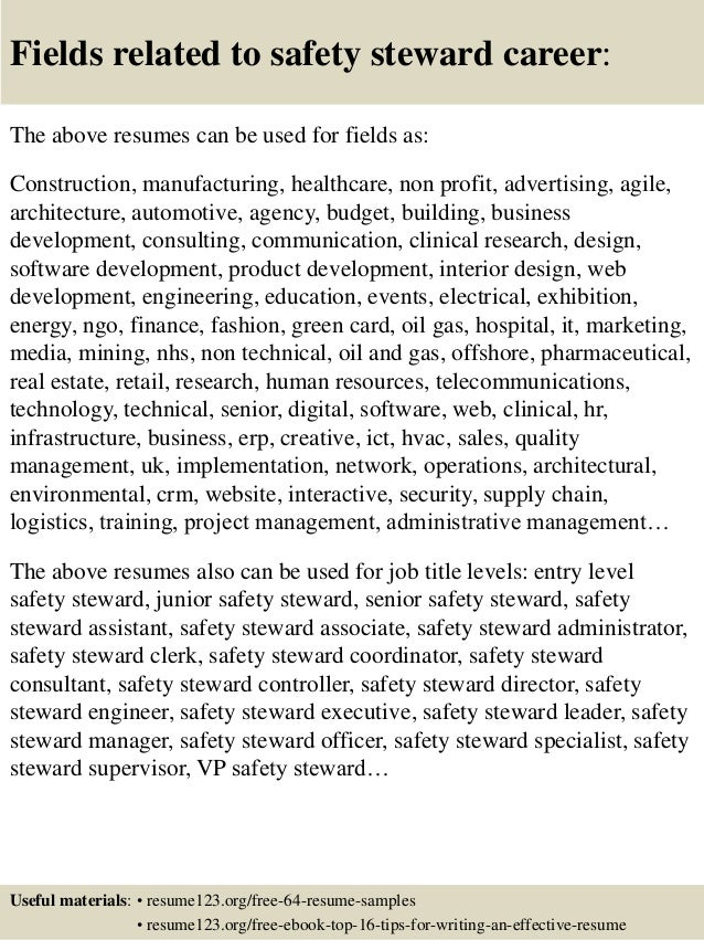 Nice ... 16. Fields Related To Safety Steward ...