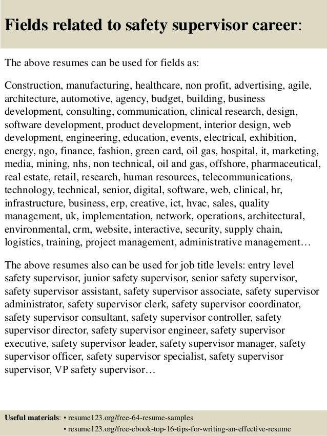sample resume supervisor position