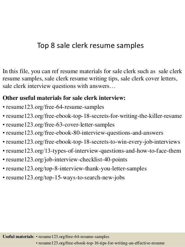 grocery clerk resumes