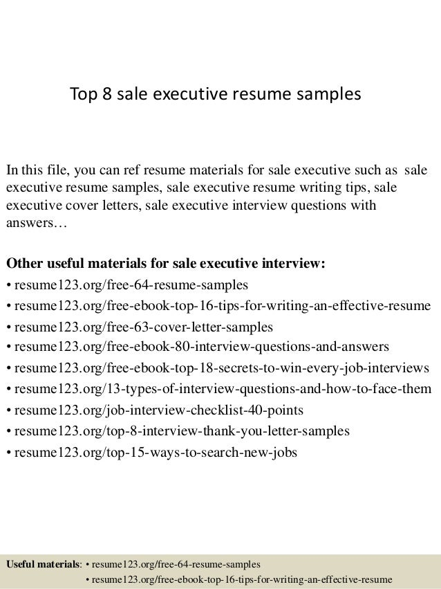 top 8 sale executive resume samples in this file you can ref resume materials for - Sale Executive Resume