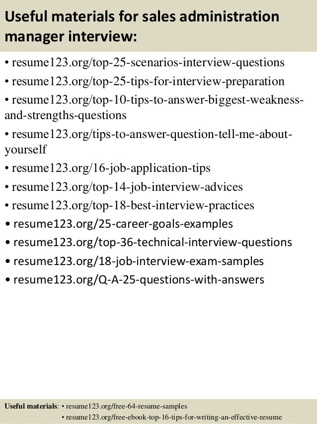 13 useful materials for sales administration manager - Sample Resume Of Sales Administration Manager