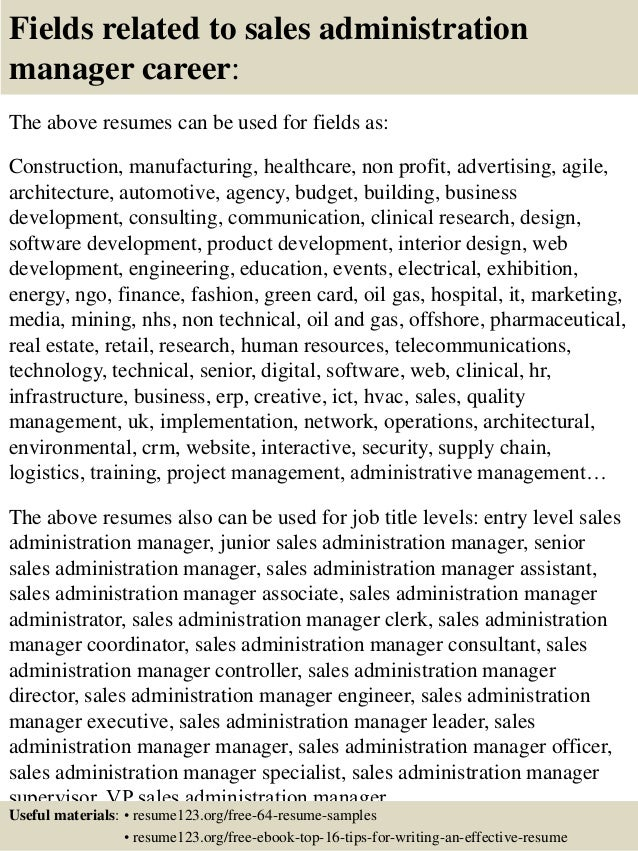 16 fields related to sales administration manager - Sample Resume Of Sales Administration Manager