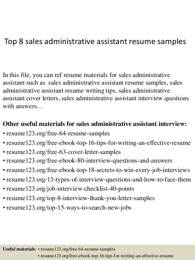 top 8 sales administrative assistant resume samples 1 638 jpg cb 1428556598