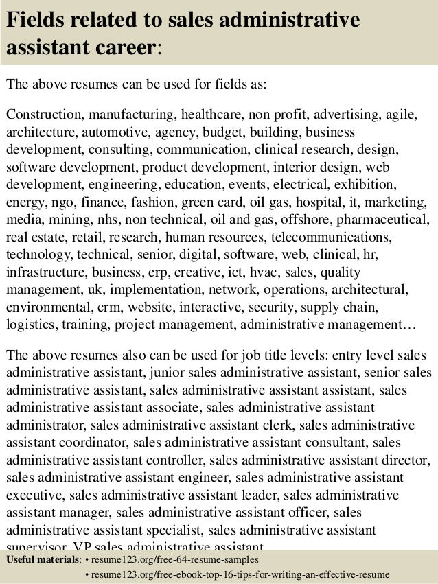 top 8 sales administrative assistant resume samples