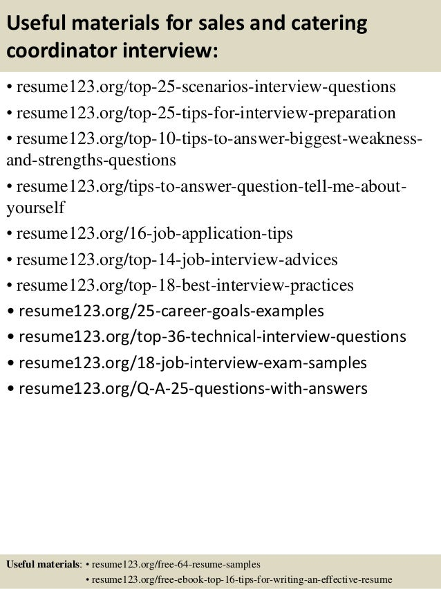 top 8 sales and catering coordinator resume samples