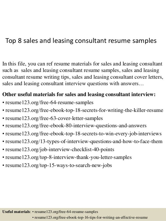 Charming Top 8 Sales And Leasing Consultant Resume Samples In This File, You Can Ref  Resume ...  Leasing Consultant Resume